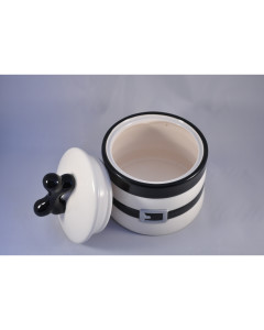 Percell - Striped Ceramic Treat Jar - black and white