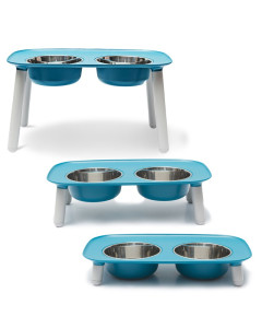 Messy Mutts - Elevated Double Feeder - Blue