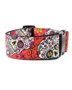 Danes & Divas - Red Sugar Skull Dog Collar