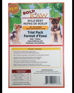 Bold Raw (Dog) - Trial Pack (3 patties x 5 oz) Grass-fed Beef