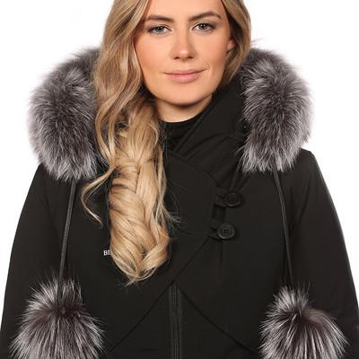 Bande foulard pompon renard argenté BILODEAU