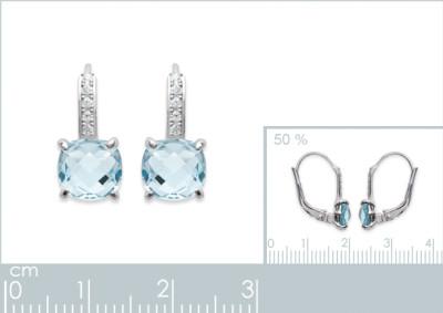 Oorringen zilver haakmodel met licht blauwe cz - 1550960