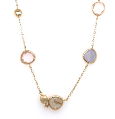Femme adoree - Collier in 18kt geel goud met rose quartz, quatz en calcedoon