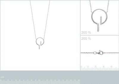 Halsketting in zilver met zirkonium