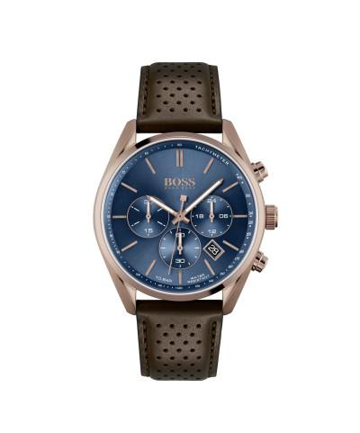 Hugo Boss - herenhorloge 44mm bruin lederen band en kast met blauwe wijzerplaat - 1513817