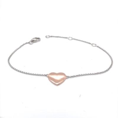 Armband zilver met een rosékleurig hartje - 90-10345-003-71-018