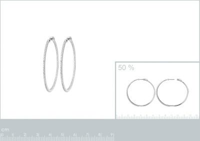 Creolen zilver 5cm met zirkonium - 1630310