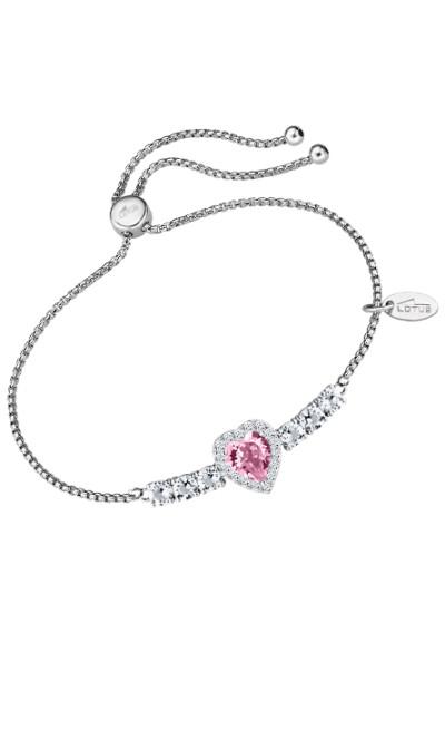 Lotus zilver - Armband met roze en witte zirkonium - LP2006-2/1