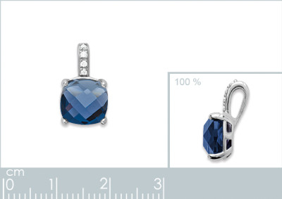 Hanger zilver met blauwe cz - 1766040