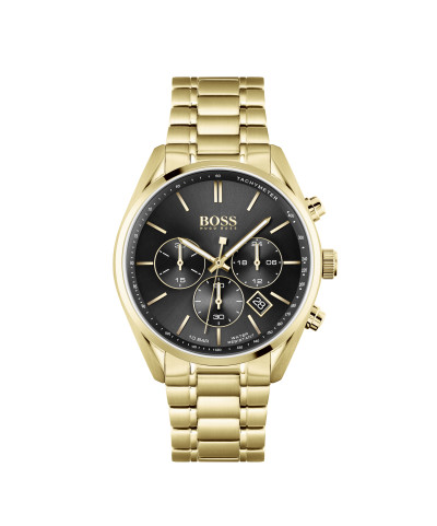 Hugo Boss - herenhorloge 44mm chronograaf met gele pvd metalen band - 1513848