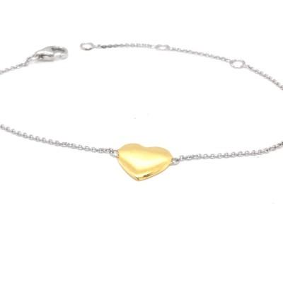 Armband zilver met een goudkleurig hartje - 90-10345-008-71-018