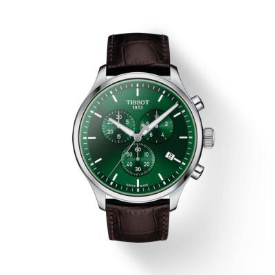 Tissot - herenhorloge chrono XL lederen band groene wijzerplaat - T116.617.16.091.00