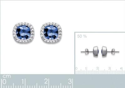 Oorringen zilver met blauwe zirkonium - 1552440