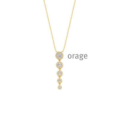 Orage - Ketting met hanger plaque - K8026 - 45cm