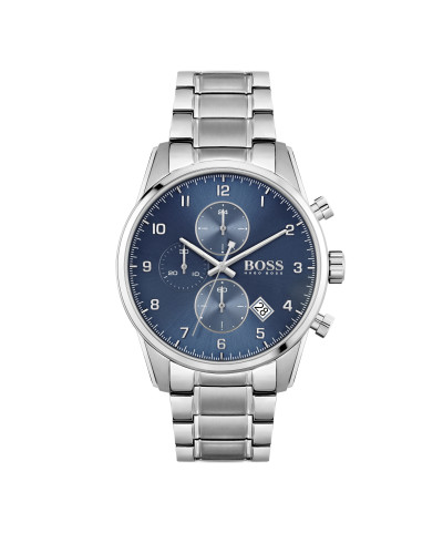 Hogo Boss - herenhorloge 44mm chronograaf met metalen band en blauwe wijzerplaat - 1413784