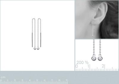Oorhanger Zilver met zirkonium - 1537210