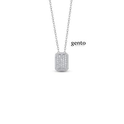 Gento - Halsketting met hanger in zilver met zirkonium - LB55
