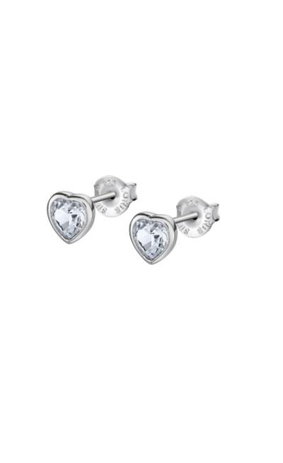 Lotus zilver - oorringen met zirkonium in hartvorm - LP2004-4/1