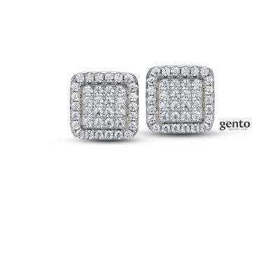 Gento - Oorknoppen in zilver met zirkonium - LB56