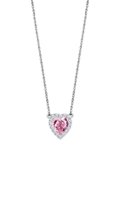 Lotus zilver - ketting met hartje met roze en witte zirkonium - LP2006-1/1