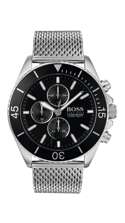 Hugo Boss - herenhorloge 46mm chronograaf met milanese metalen band - 1513701