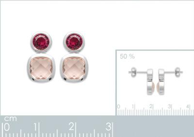 Oorhanger in zilver met roze zirkonium 1585080