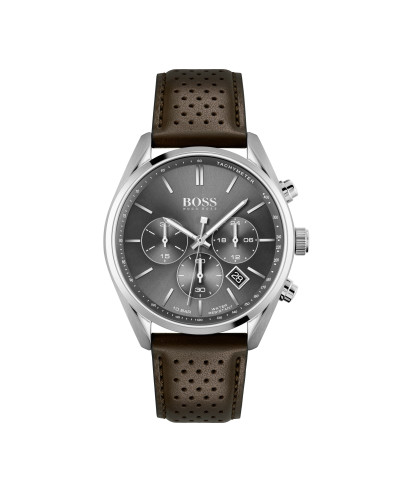 Hugo Boss - herenhorloge 44mm chronograaf met bruine lederen band - 1513815