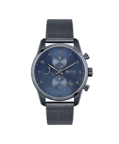 Hogo Boss - herenhorloge 44mm chronograaf met blauwe milanese band en blauwe wijzerplaat - 1513836
