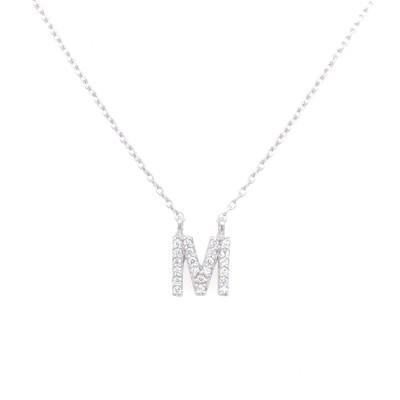 Ketting 18kt wit goud met briljant - letter M