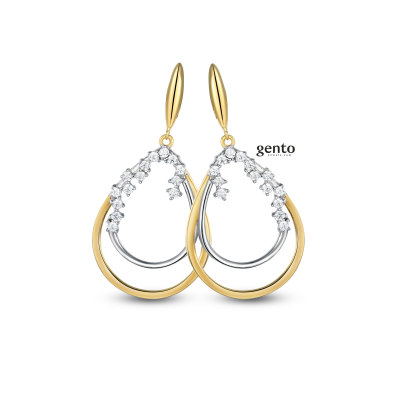 Gento - Oorhangers in tweekleurig zilver met zirkonium - LA02