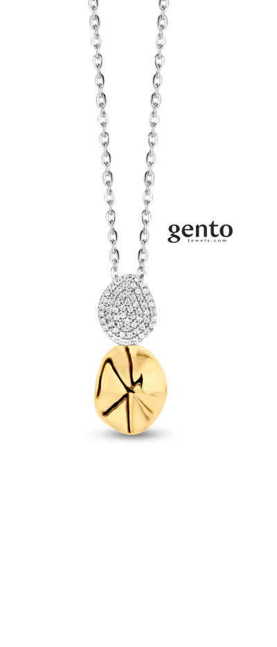 Gento - Halsketting met hanger in tweekleurig zilver - LB20