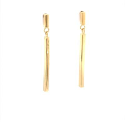 Oorslingers 18kt geel goud staaf 3,5cm