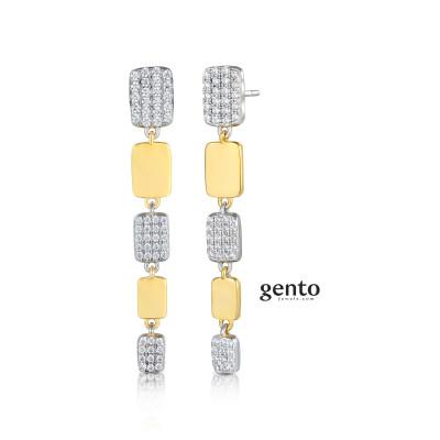 Gento - Oorhangers in tweekleurig zilver - LB02