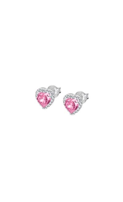 Lotus zilver - oorringen met roze en witte zirkonium in hartvorm - LP2006-4/1