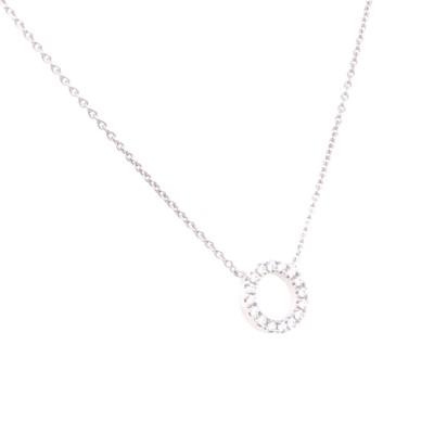 Collier met zirkonium 14kt wit goud - cirkel - 20-00158-1055F