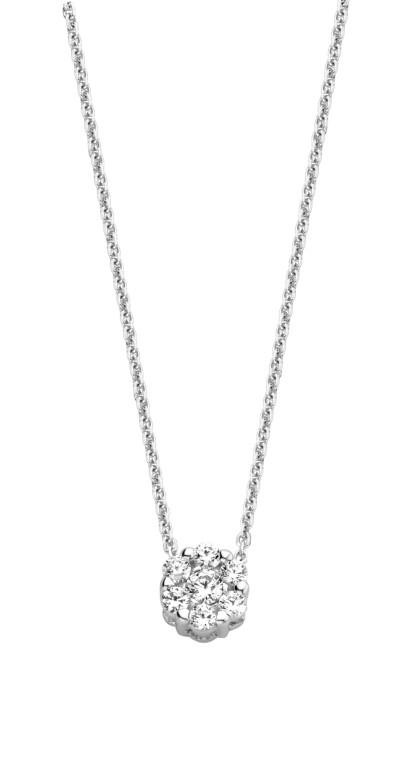 Ketting 18kt wit goud 40cm met hanger zirkonium - Y1636