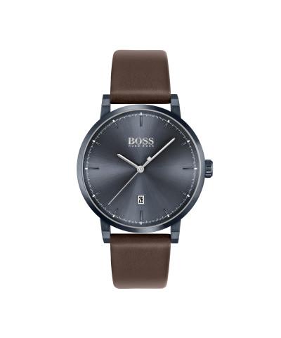 Hugo Boss - herenhorloge 42 mm bruine lederen band blauwe kast en wijzerplaat - 1513791