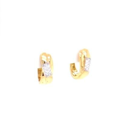 Oorringen creolen 18kt geel goud met briljant - 37-70739-1271F