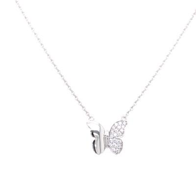 Collier met zirkonium 14kt wit goud - vlinder - 20-00173-1055F