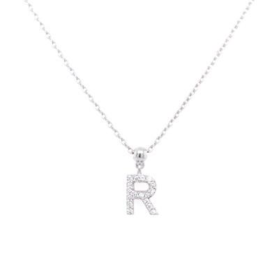 Ketting 18kt wit goud met briljant - letter R