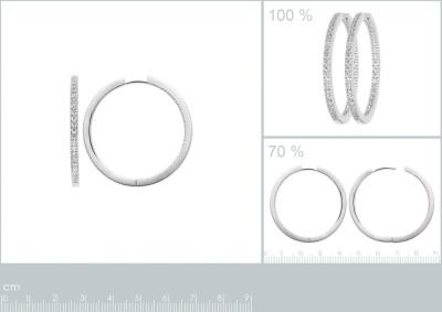 Creolen zilver 4cm met zirkonium - 1619940