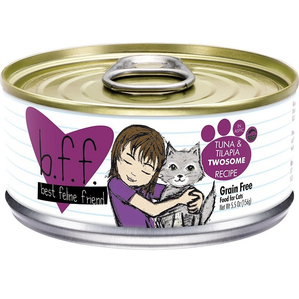 Weruva BFF Grain-Free Tuna & Tilapia Twosome Recipe in Aspic Canned Cat Food 5.5z, 24