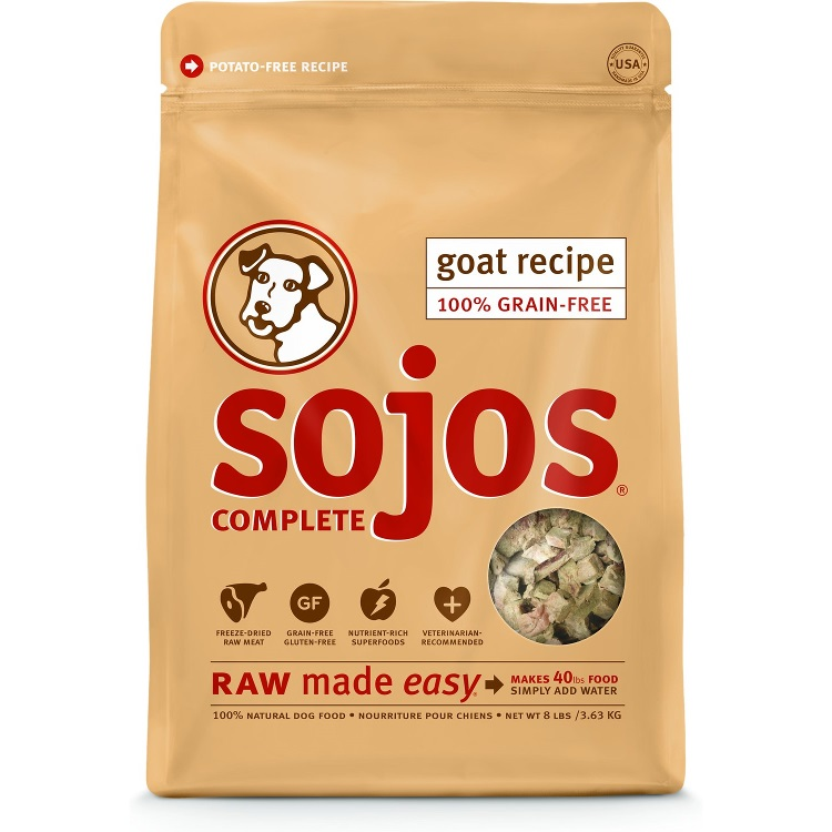 Sojos Complete Goat Recipe Freeze-Dried Dog Food 8lbs