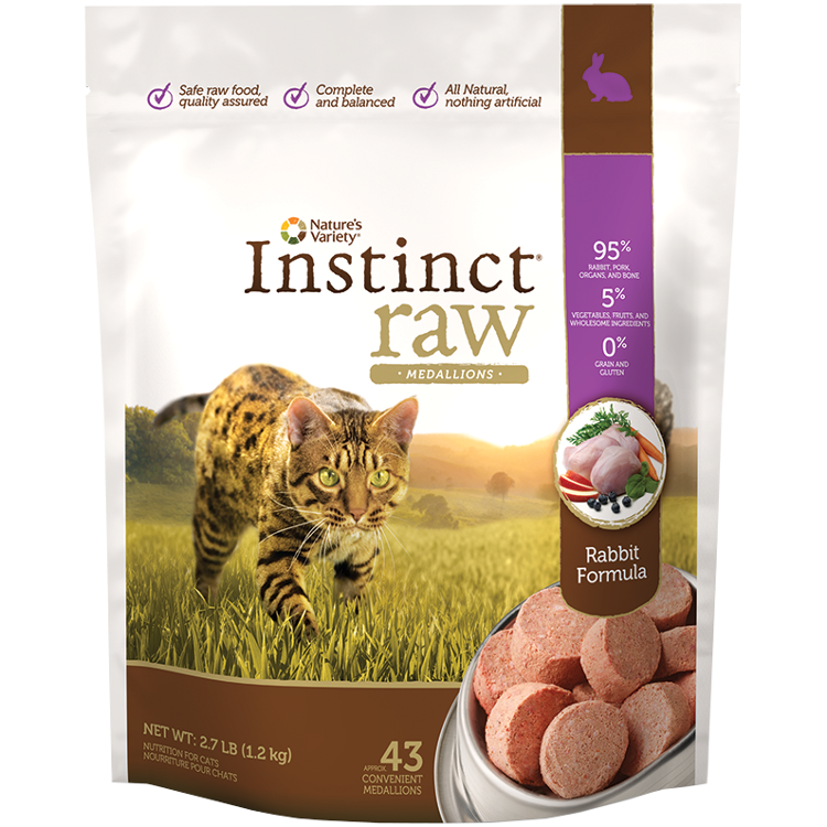 Nature's Variety Instinct Raw Grain-Free Rabbit 1z Medallions Raw Frozen Cat Food 2.7lbs