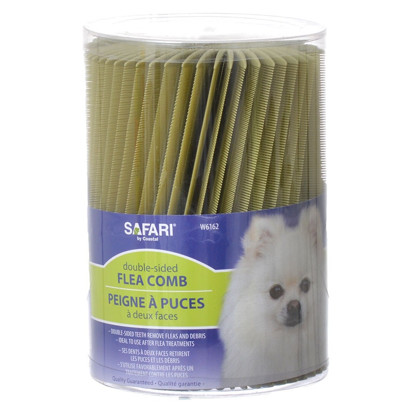 Safari Double-Sided Flea Comb for Dogs & Cats Jar 100 Count