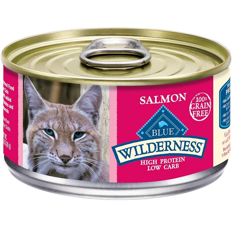 Blue Buffalo Wilderness Salmon Grain-Free Canned Cat Food 3z, 24
