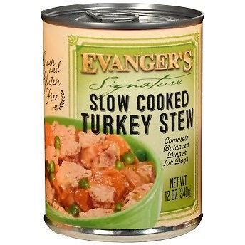 Evanger's Grain-Free Signature Series Slow Cooked Turkey  Stew Canned Dog Food 12z, 12