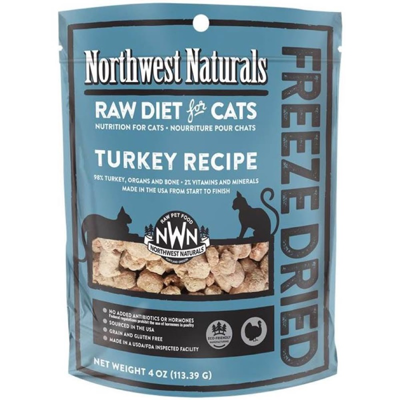 Northwest Naturals Raw Diet Grain-Free Turkey Nibbles Freeze Dried Cat Food 4z