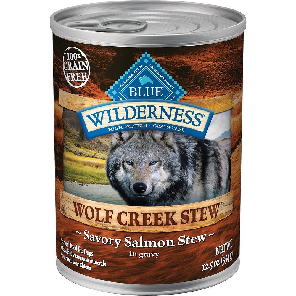 Blue Buffalo Wilderness Wolf Creek Stew Savory Salmon Stew Grain-Free Adult Canned Dog Food 12.5z, 12