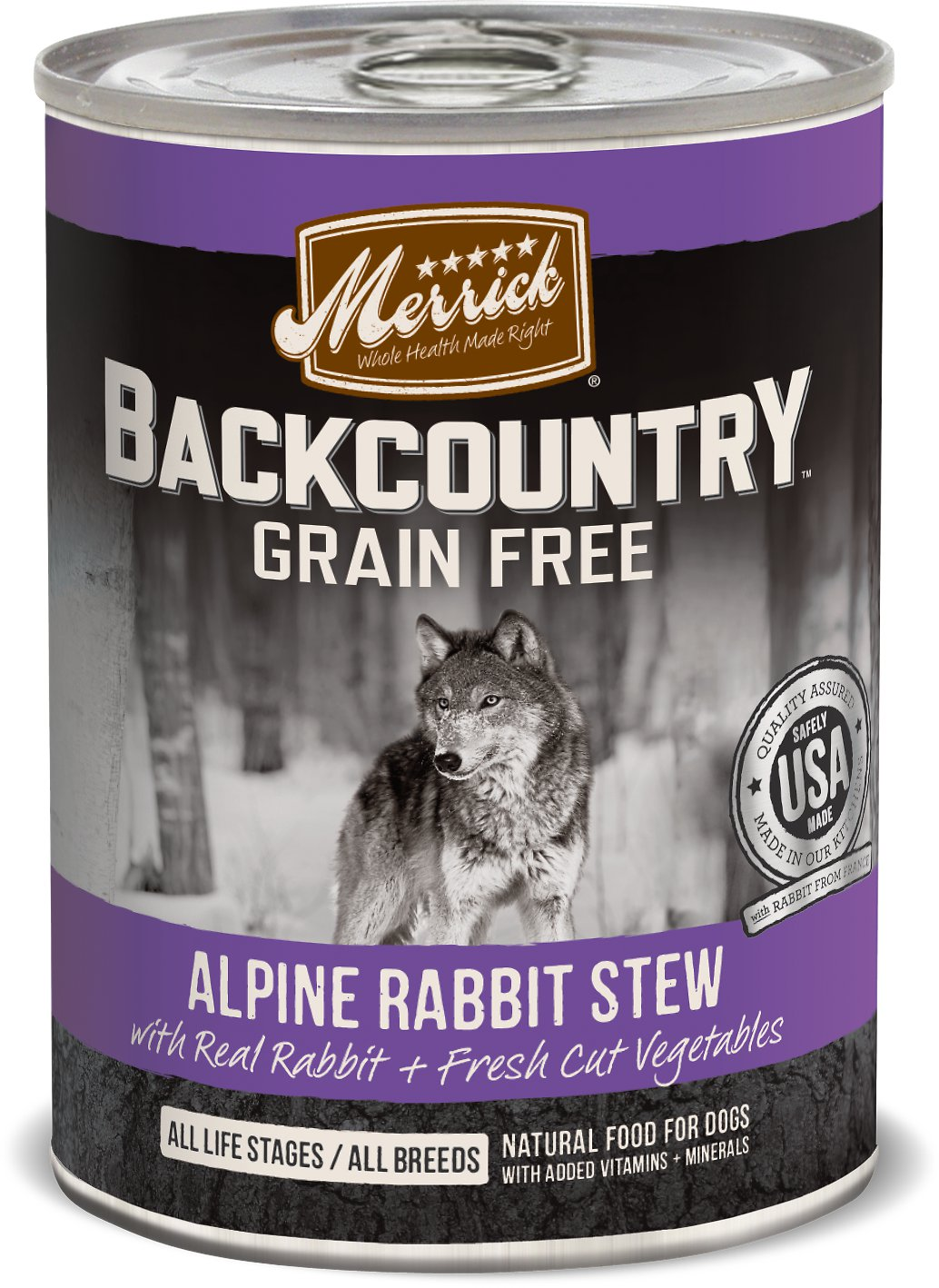 Merrick Backcountry Alpine Rabbit Stew Canned Dog Food 12.7z, 12